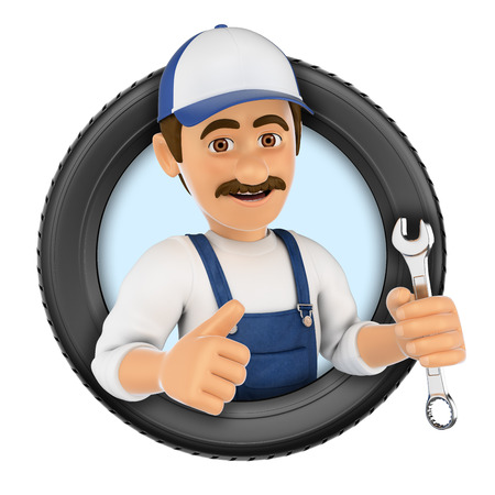 3d logo illustration. Mechanic with wrench and tyre. Isolated white background. Stock Photo