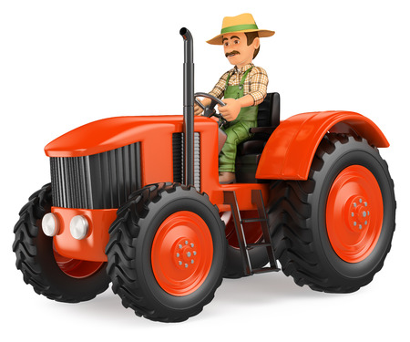 plowing: 3d working people illustration. Farmer driving a tractor. Isolated white background.