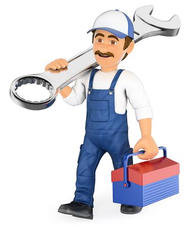 car isolated: 3d working people illustration. Mechanic walking with a wrench and a toolbox. Isolated white background. Stock Photo
