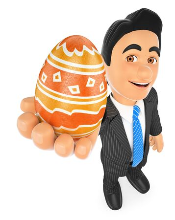 3d business people illustration. Businessman with a decorated easter egg. Isolated white background.