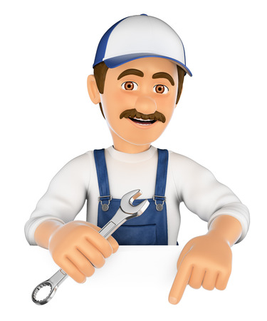 white work: 3d working people illustration. Mechanic pointing down. Blank space. Isolated white background.