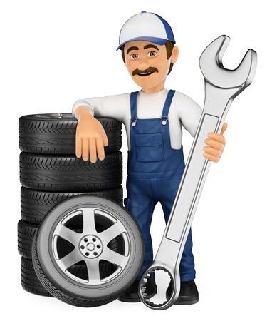 3d personas que trabajan ilustración. Mecánico con una pila de neumáticos y una llave enorme. fondo blanco aislado.