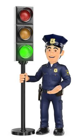 3d de seguridad obliga a la gente ilustración. Policía con un semáforo en verde. fondo blanco aislado.
