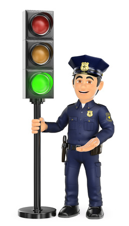 white background: 3d security forces people illustration. Police with a traffic light in green. Isolated white background. Stock Photo