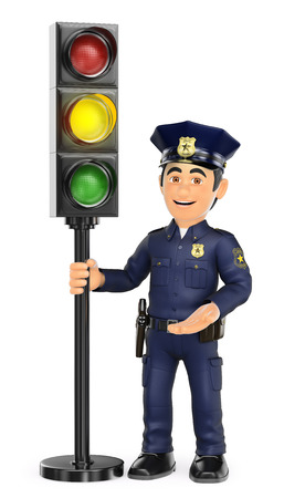 controlling: 3d security forces people illustration. Police with a traffic light in amber. Isolated white background.
