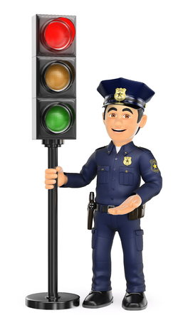 3d security forces people illustration. Police with a traffic light in red. Isolated white background.