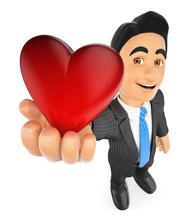 3d business people illustration. Businessman with a big red heart. Isolated white background. Stock Photo
