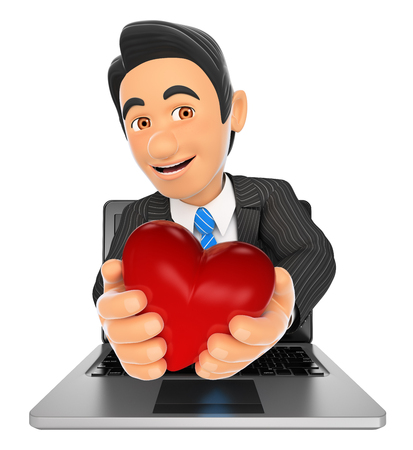 white background: 3d business people illustration. Businessman coming out a laptop screen with a red heart. Isolated white background.