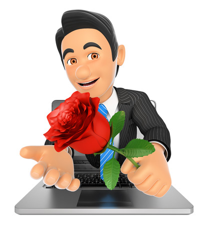 3d business people illustration. Businessman coming out a laptop screen with a red rose. Isolated white background. Stock Photo