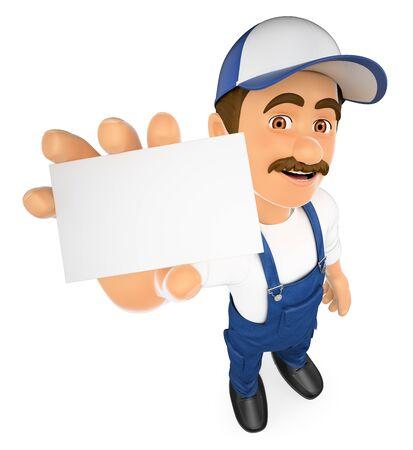 3d ilustración de las personas que trabajan. Mecánico que muestra una tarjeta en blanco. fondo blanco aislado.