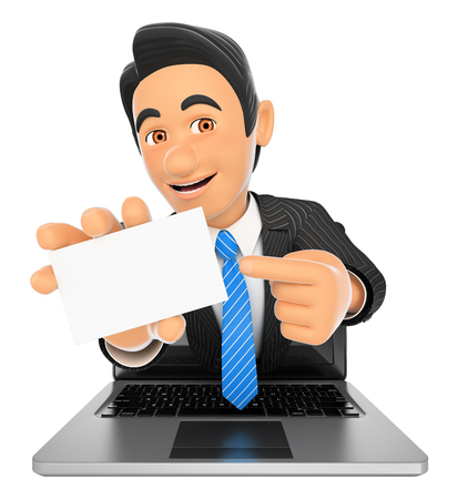 blank screen: 3d business people illustration. Businessman coming out a laptop screen with a blank card. Isolated white background. Stock Photo