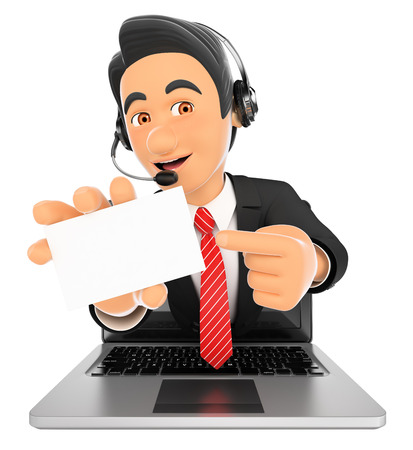 hotline: 3d working people illustration. Call center employee coming out a laptop screen with a blank card. Isolated white background