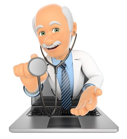 3d medical people illustration. Doctor coming out a laptop screen with a stethoscope. Isolated white background. Stock Photo