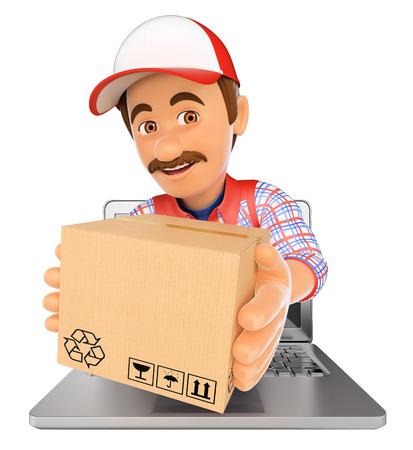 contemporary: 3d working people illustration. Delivery man coming out a laptop screen with a package. Isolated white background.