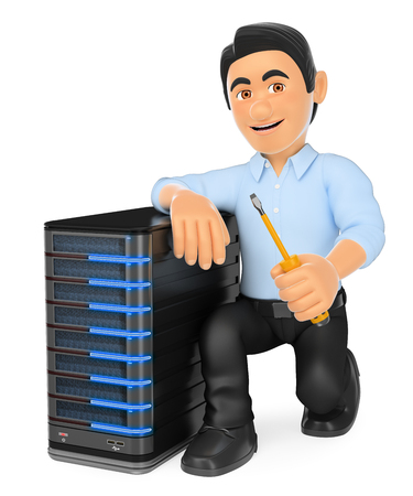 3d working people illustration. Information technology technician with a server. Isolated white background.