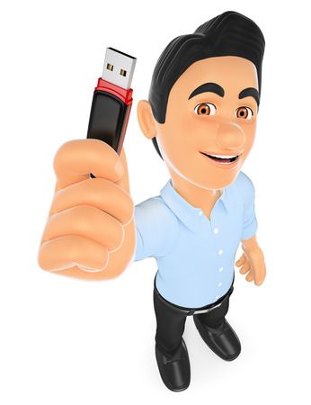 information  isolated: 3d working people illustration. Information technology technician with a usb memory stick. Isolated white background.