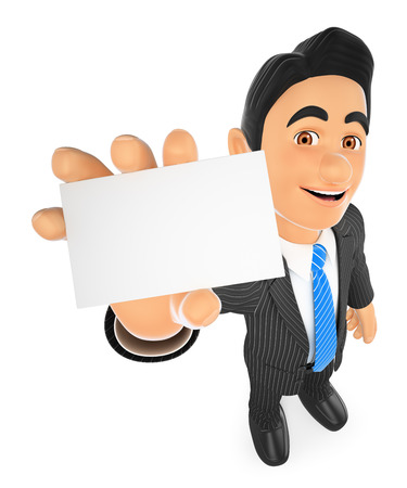 white background: 3d business people illustration. Businessman showing a blank card. Isolated white background.