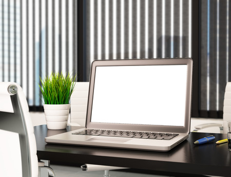 3d illustration modern office with blank laptop screen. Mockup