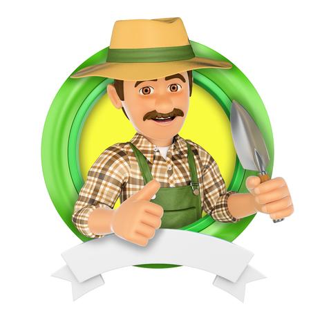 3d ilustración insignia. Jardinero con una pequeña pala. fondo blanco aislado. Foto de archivo