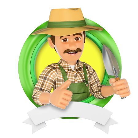work clothes: 3d logo illustration. Gardener with a small spade. Isolated white background.