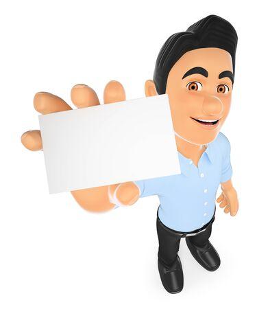 3d personas que trabajan ilustración. Información técnico de la tecnología que muestra una tarjeta en blanco. fondo blanco aislado. Foto de archivo
