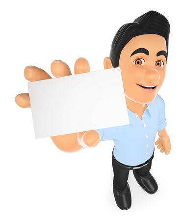 communication: 3d working people illustration. Information technology technician showing a blank card. Isolated white background. Stock Photo