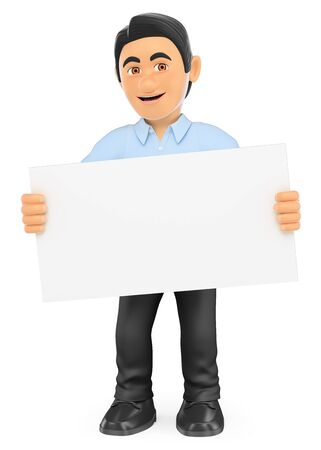 information  isolated: 3d working people illustration. Information technology technician with a blank poster. Isolated white background. Stock Photo