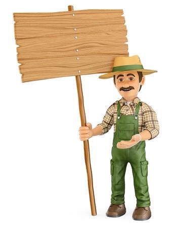 3d personas que trabajan ilustración. Jardinero con un cartel de madera en blanco. fondo blanco aislado.