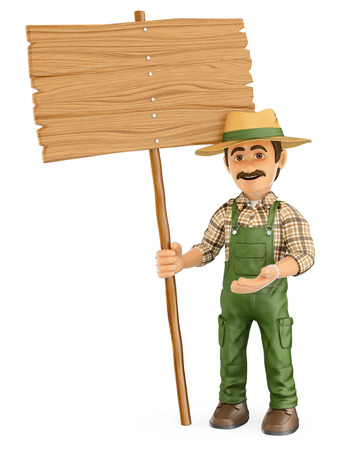 happy farmer: 3d working people illustration. Gardener with a blank wooden sign. Isolated white background. Stock Photo