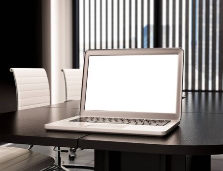 computer work: 3d illustration modern meeting room with blank laptop screen. Mockup Stock Photo