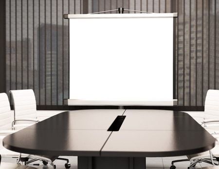 office desk: 3d illustration modern meeting room with blank projector screen. Mockup