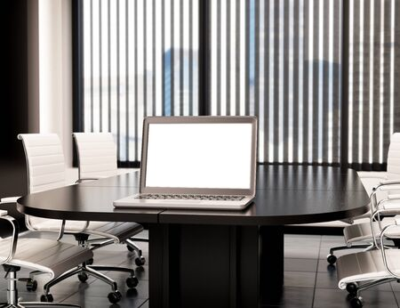 view: 3d illustration modern meeting room with blank laptop screen. Mockup Stock Photo