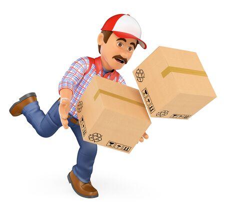 3d personas que trabajan ilustración. Hombre de salida cae con las cajas. Accidente laboral. fondo blanco aislado. Foto de archivo
