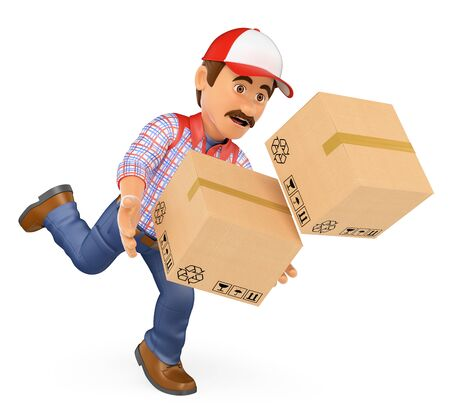 3d working people illustration. Delivery man falling with boxes. Work accident. Isolated white background.