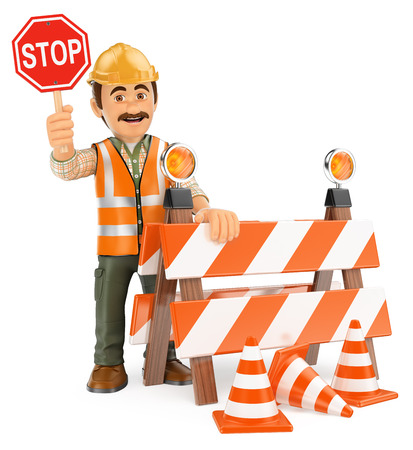 3d working people illustration. Worker with stop sign. Under construction. Isolated white background.