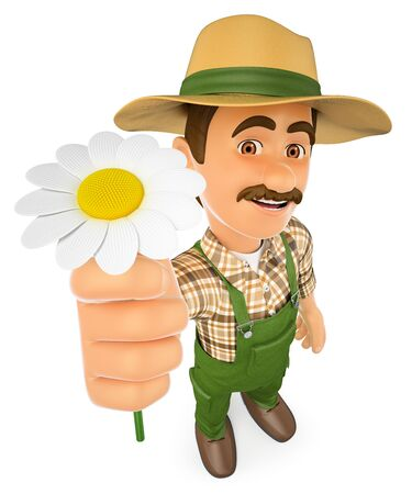 3d working people illustration. Gardener with a daisy. Spring. Isolated white background. Stock Photo