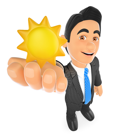 white work: 3d business people illustration. Weather man with a sun. Sunny day. Isolated white background.