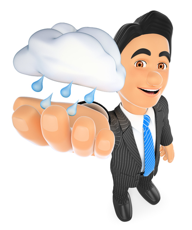 3d business people illustration. Weather man with a cloud with rain. Rainy day. Isolated white background. Foto de archivo