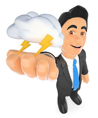 3d business people illustration. Weather man with cloud and lightning. Thunderstorm day. Isolated white background.