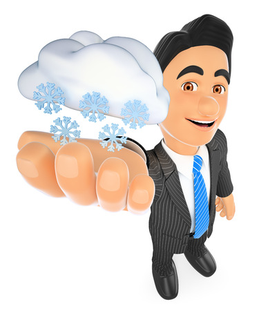 business people: 3d business people illustration. Weather man with cloud and snow. Snowing day. Isolated white background.