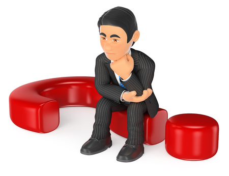 answer: 3d business people illustration. Businessman thoughtful sitting on a question mark. Isolated white background.