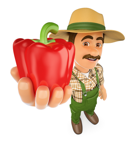 3d working people illustration. Farmer with a red pepper from his harvest. Isolated white background. Foto de archivo