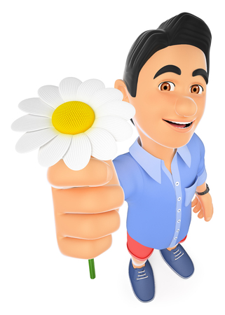 3d young people illustration. 3D man in shorts with a daisy. Spring. Isolated white background. Stock Photo