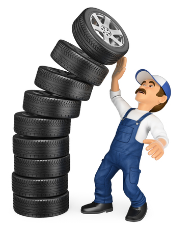 auto repair: 3d working people illustration. Mechanic with a pile of tires falling on top. Work accidents. Isolated white background.