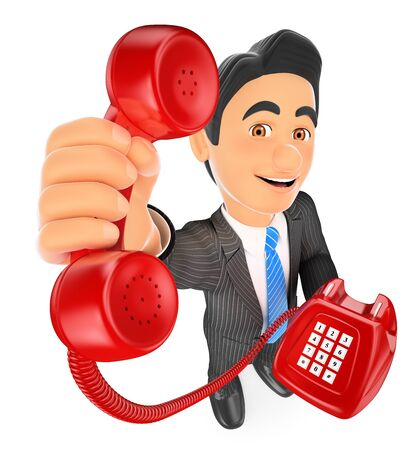 3d business people illustration. Businessman with a red telephone. Call concept. Isolated white background.
