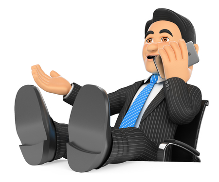 office desk: 3d business people illustration. Businessman talking on mobile phone with feet up. Isolated white background. Stock Photo