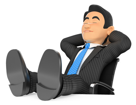 office desk: 3d business people illustration. Businessman sleeping with eyes closed and feet up. Isolated white background. Stock Photo