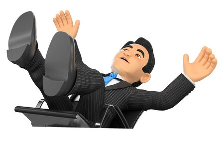 computer chair: 3d business people illustration. Businessman scared falling off his office chair. Isolated white background.