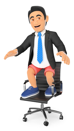 profession: 3d business people illustration. Businessman in shorts on his office chair. Holidays concept. Isolated white background.
