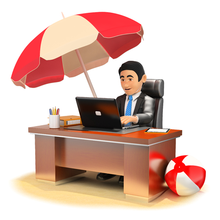 white background: 3d business people illustration. Businessman working in his office on the beach. Isolated white background.